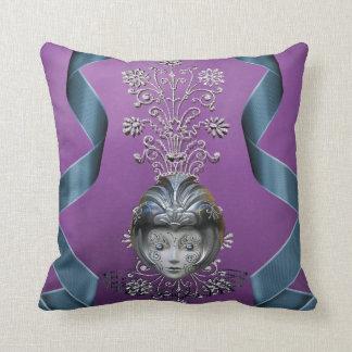 Sparkling Mardi Gras Party Mask & Streamers Throw Pillow