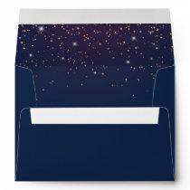 Sparkling Navy Blue Wedding Invitation Envelope