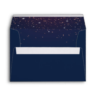 Sparkling Navy Blue Wedding Invitation Envelope