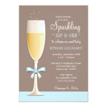 Sparkling New Baby Boy Sip and See Invitation