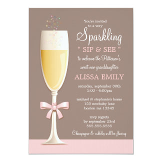 """Sparkling New Baby Girl Sip and See Invitation 5"""" X 7"""" Invitation Card"""
