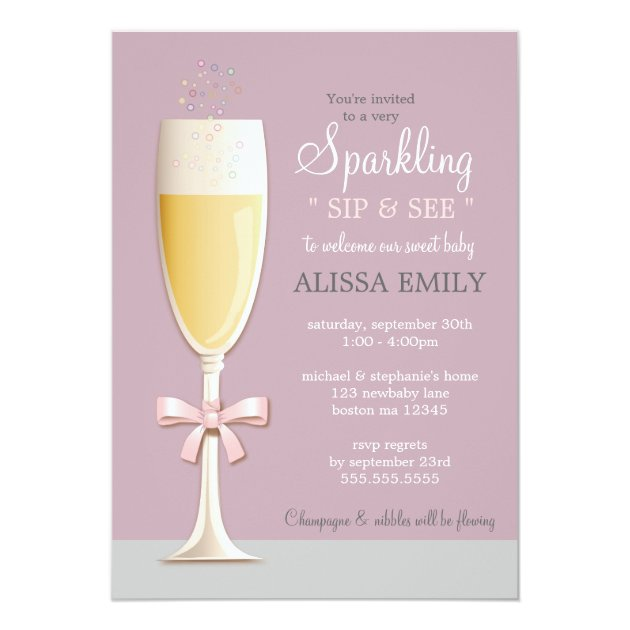 Sparkling New Baby Girl Sip and See Invitation | Zazzle