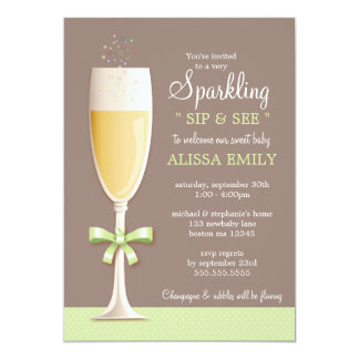 Sparkling New Baby Neutral Sip and See Invitation