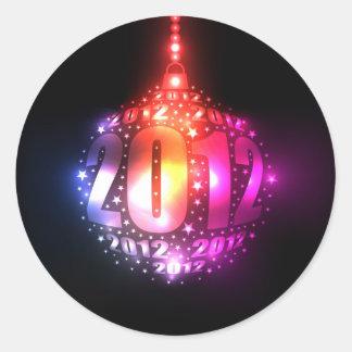 Sparkling New Year's 2012 Ornament Design Classic Round Sticker