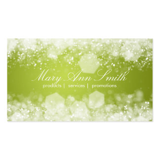 Sparkling Night Lime Green Professional Business Card Templates