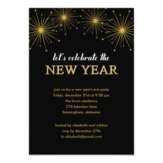 "Sparkling Night New Year's Eve Party Invitation 5"" X 7"" Invitation Card"