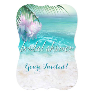 SPARKLING OCEAN WATERS Bridal Shower 5x7 Paper Invitation Card
