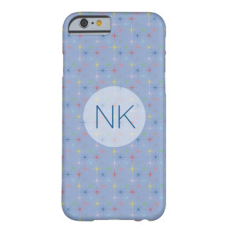 sparkling pastel stars custom monogram blue barely there iPhone 6 case