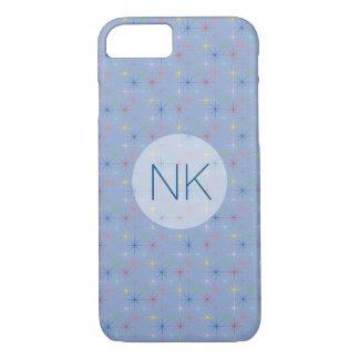 sparkling pastel stars custom monogram blue iPhone 7 case