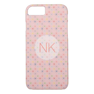 sparkling pastel stars custom monogram pink iPhone 7 case