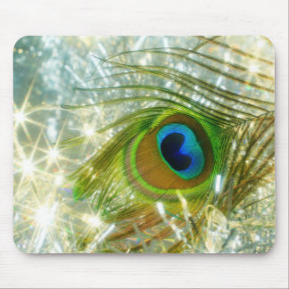 Sparkling Peacock Feather Mousepad