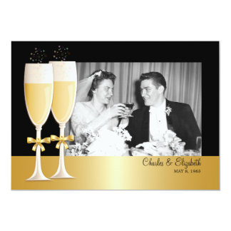 Sparkling Photo 50th Wedding Anniversary Party Card