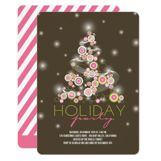 Sparkling Pink Christmas Tree Holiday Party Invite