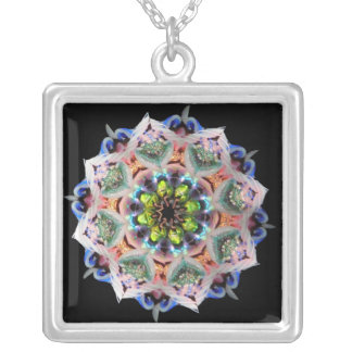 Sparkling Pink Kaleidoscope Burst Silver Plated Necklace
