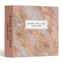 Sparkling Pink Marble Abstract Makeup Artist 3 Ring Binder