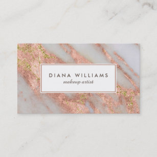 sparkling pink marble abstract makeup artist business card - Artist Business Cards