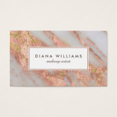 Sparkling Pink Marble Abstract Makeup Artist Business Card at Zazzle