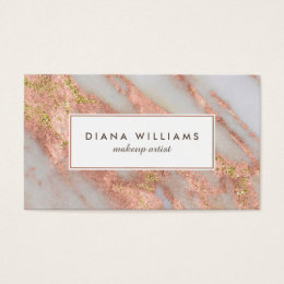 Cosmetics business cards templates zazzle sparkling pink marble abstract makeup artist business card colourmoves