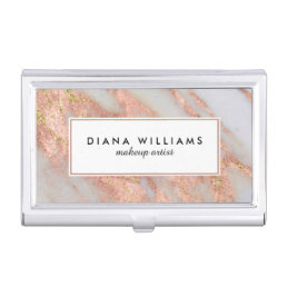 Sparkling Pink Marble Abstract Makeup Artist Business Card Case