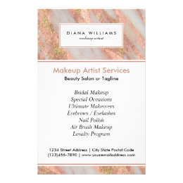 Sparkling Pink Marble Abstract Makeup Artist Flyer