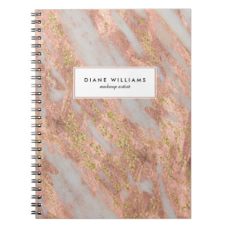 Sparkling Pink Marble Abstract Pattern with Name Spiral Notebook