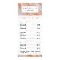 Sparkling Pink Marble Abstract Price List Rack Card