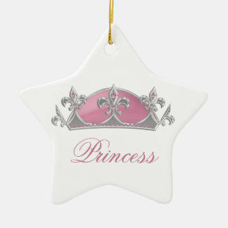Sparkling Pink Princess Faux Crown with Diamonds Ceramic Ornament