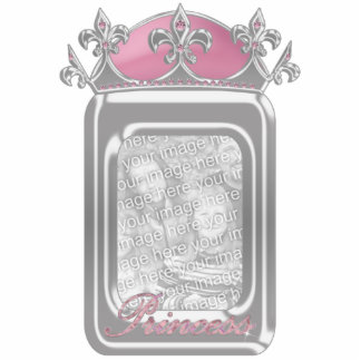 Sparkling Pink Princess Faux Crown with Diamonds Standing Photo Sculpture