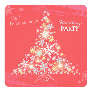 Sparkling Pink Snowflake Tree Holiday Party Card