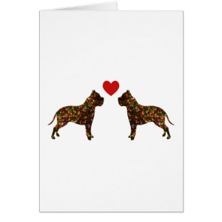 Sparkling Pitbull Love Silhouette Card