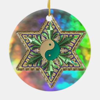 Sparkling Psychedelic Yin-Yang Stars Ornament