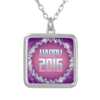 Sparkling Purple Happy New Year 2016 Silver Plated Necklace