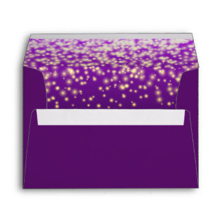 Sparkling purple lights modern wedding envelope