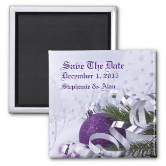 Sparkling Purple Ornaments Save The Date Magnet