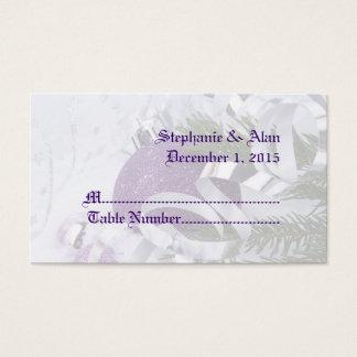 Sparkling Purple Ornaments Wedding Place Cards