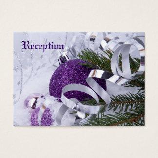 Sparkling Purple Ornaments Wedding Reception Cards