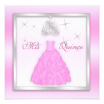 Sparkling Quinceanera Invite Light Pink Silver