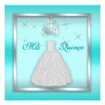 Sparkling Quinceanera Invite Teal Silver White