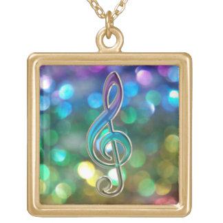 Sparkling Rainbow Glitter Music Clef Necklace