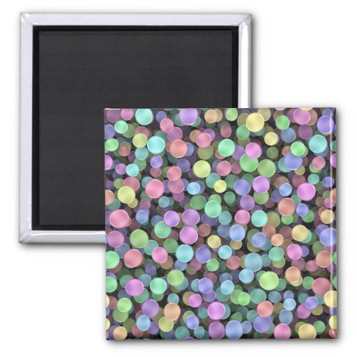 Sparkling Rainbow Polka Dots 2 Inch Square Magnet