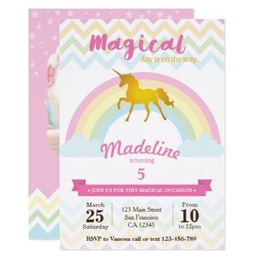 Annegelic Sparkling rainbow unicorn birthday invitation