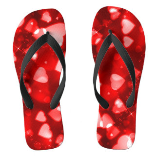 Sparkling Red Champagne Hearts Style Sandals