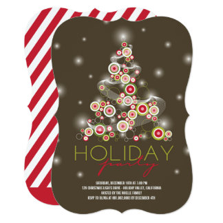 Sparkling Red Christmas Tree Holiday Party Invite