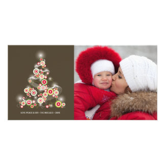 Sparkling Red Christmas Tree Holiday Photo Card