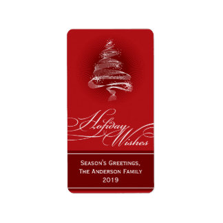 Sparkling Red Christmas Tree Swirls Holiday Gift T Personalized Address Labels