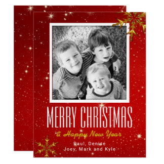 Sparkling Red Gold Flat Photo Christmas Cards