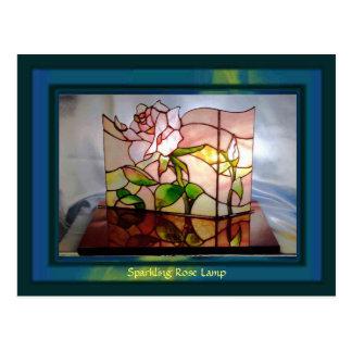 Sparkling Rose Lamp Art Postcard