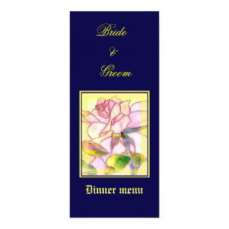Sparkling Rose Wedding Dinner Menu Card