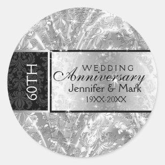 Sparkling Silver 60th Wedding Anniversary Classic Round Sticker