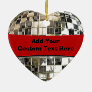 Sparkling Silver And Red Disco Party Ornament